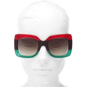 New Gucci GG0083S red, black, and green sunglasses